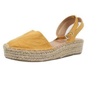 Shoes - Mustard Crochet Espadrilles Ankle Strap Flatform